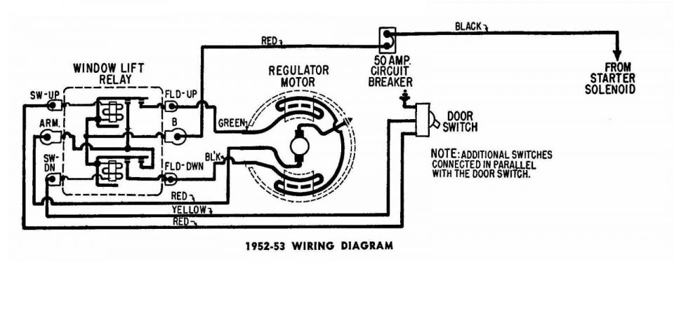 Window Regulator Wiring Diagram Chrysler 1950-53 2/2 ...