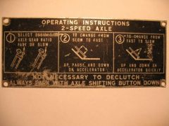 2 speed truck axle shifter Instruction plate