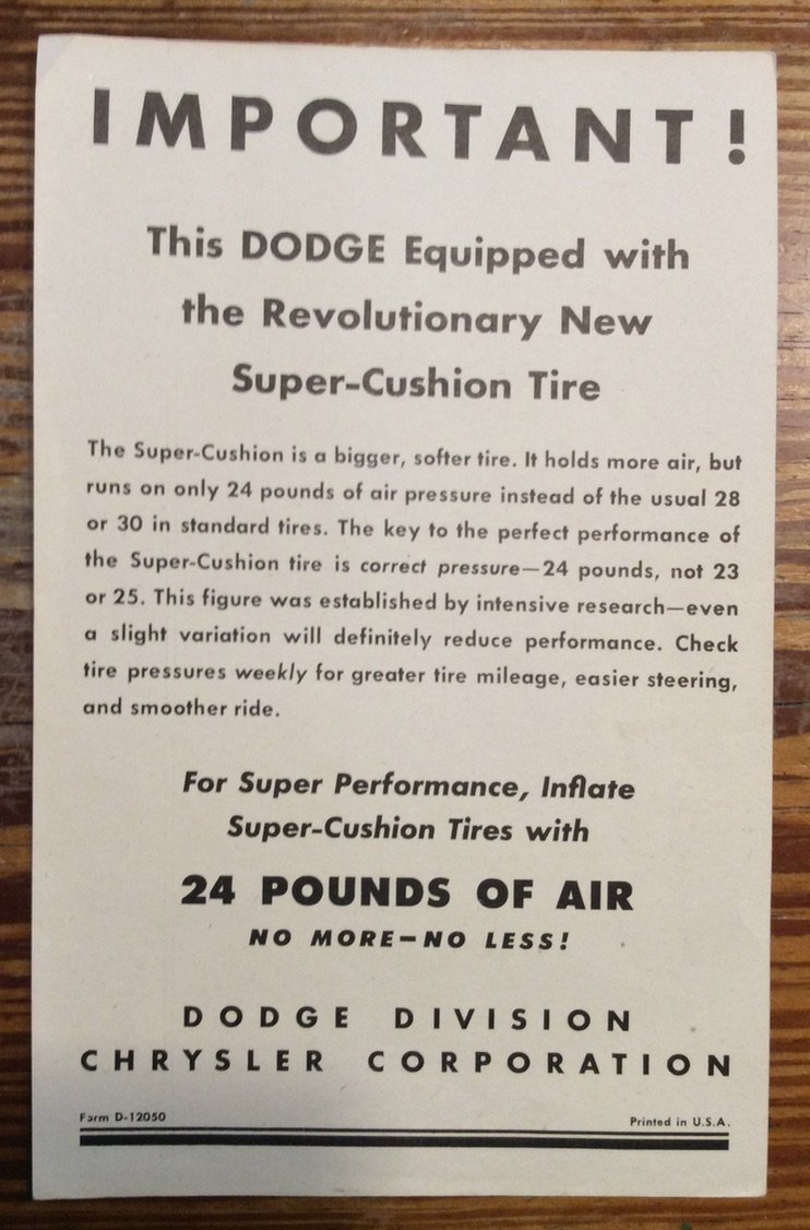 Tire Inflation Notice