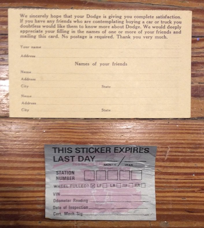Dealer Referral Card & Last Inspection Sticker Miles